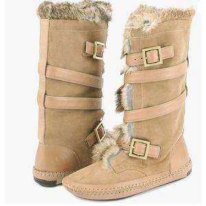 ory Burch Jaden Genuine Rabbit Fur Lined Boots